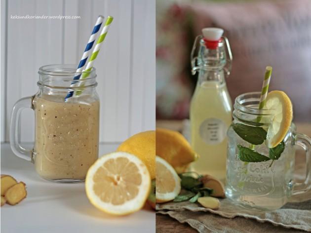 Smoothie und Sirup mit Zitrone,