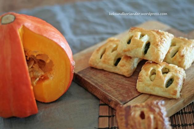 Blätterteigtaschen mit Kürbis, Paprika, Karotte und Ziegenkäse Mangold Feta3