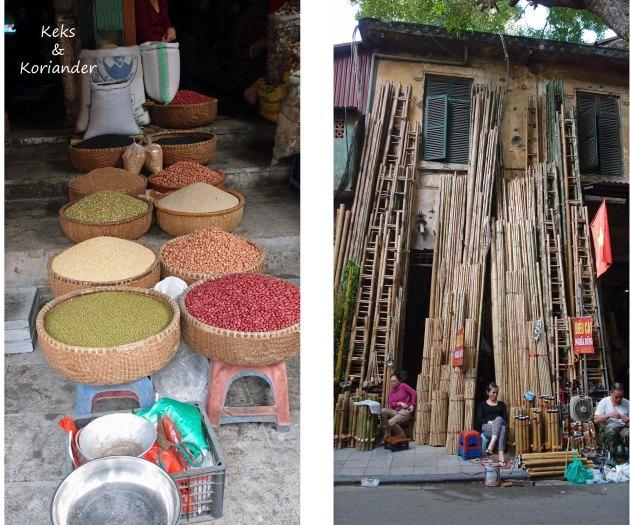 Hanoi Vietnam Einkaufen Straßen Leitern Gewürze