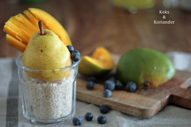 Kokosmilchreis mit Mango Birnen Spiegel