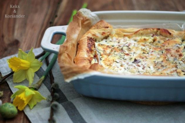 Quiche mit Birnen, Ziegenkäse, Gorgonzola, Thymian, Honig, Zwiebeln