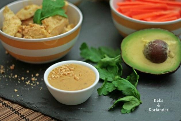 Vietnamesische Sommerrollen mit Sate Hähnchen und Erdnusssauce 2