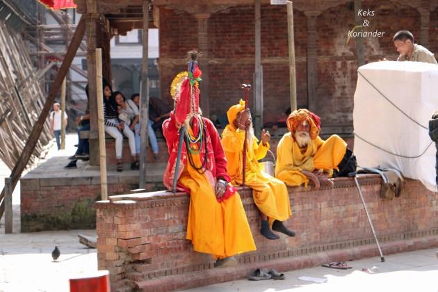 Kathmandu Nepal Mönche Tempel Wiederaufbau