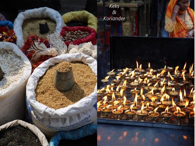 Kathmandu Nepal Verpflegung Waren Straßenmarkt Kerzen Tempel
