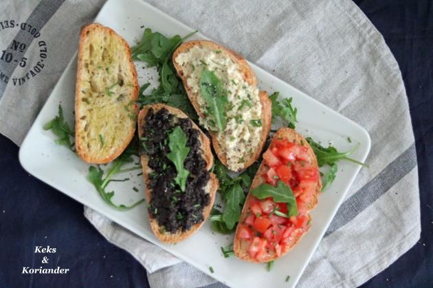 Bruschetta miste mit Artischokencreme Olivencreme Tomaten und Knoblauch 2